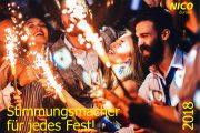 nico europe partykatalog cover 2018 feiernde menschen mit sprühenden traumsternen
