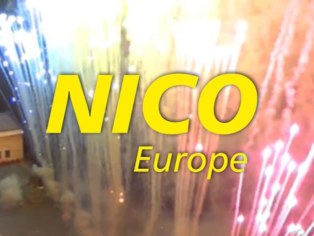 nico europe bild aus kanaltrailer gelbes nico logo vor vielen bunten effektaufstiegen