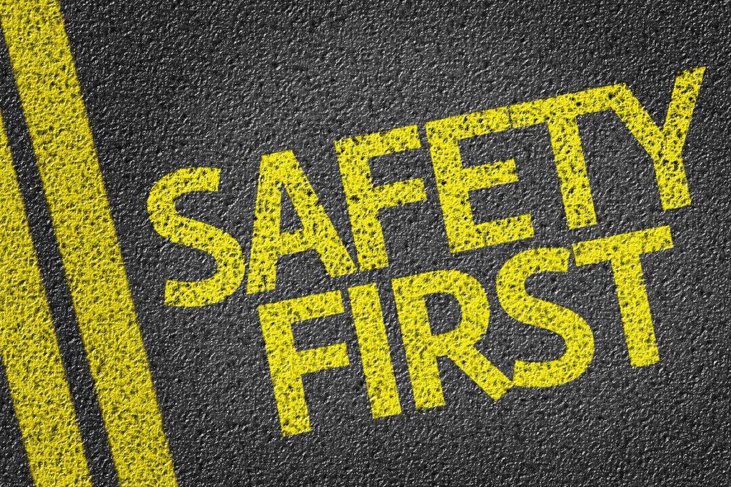 sicherheit erste geschrieben auf the straße