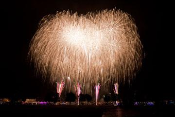 nico europe unternehmen feuerwerke japantag düsseldorf gigantisches feuerwerk mit roten aufstiegen zu goldenen sternregen-effekten