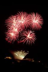 nico europe feuerwerke fireworks rhein in flammen rhine in flames goldener fächereffekt am boden, darüber rote funkeneffekte am himmel