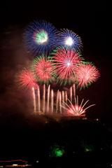 nico europe feuerwerke fireworks rhein in flammen rhine in flames rote gerade und gefächerte aufstiege zu rot-grünen riesen Kugeleffekten
