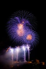 nico europe feuerwerke fireworks rhein in flammen rhine in flames vier silberne und lila aufstiege zu funkeneffekten, darüber lila funkeneffekte mit goldenem zentrum