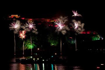 nico europe feuerwerke fireworks rhein in flammen rhine in flames viele bunte aufstiege zu bunten palmeneffekten vor rot beleuchteter burg