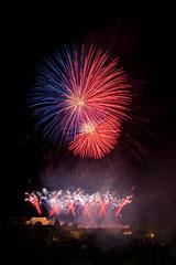 nico europe feuerwerke fireworks rhein in flammen rhine in flames viele gekreuzte blaue und rote aufstiege zu silbernen blinksternen, darüber rot-blaue funkeneffekte in kugelform