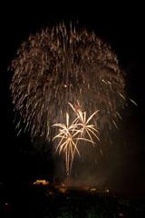 nico europe feuerwerke fireworks rhein in flammen rhine in flames mehrere goldene aufstiege zu goldenen palmeneffekten vor gigantischem kugelförmigen funkeneffekt am himmel