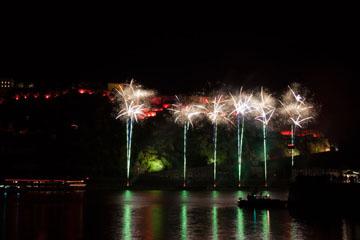 nico europe feuerwerke fireworks rhein in flammen rhine in flames viele grüne aufstiege in einer reihe zu silbernen palmeneffekten vor rot beleuchteter burg mit spiegelung im wasser