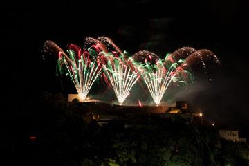 nico europe feuerwerke fireworks rhein in flammen rhine in flames gefächerte silberne aufstiege zu roten und grünen funkeneffekten