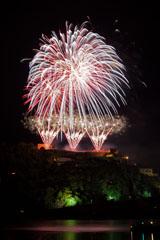 nico europe feuerwerke fireworks rhein in flammen rhine in flames fächereffekte in silber, gold, rot und blau, darüber gigantische kugeleffekte in selbigen farben mit blinksternen