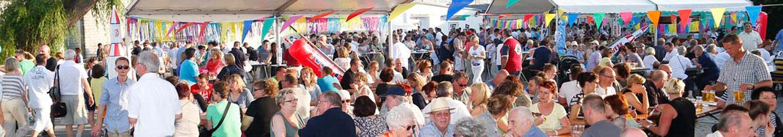 nico europe hoffest 2014 viele Menschen auf Biergarnituren sitzend, bunte grilanden überall, panoramablick über den den Hof