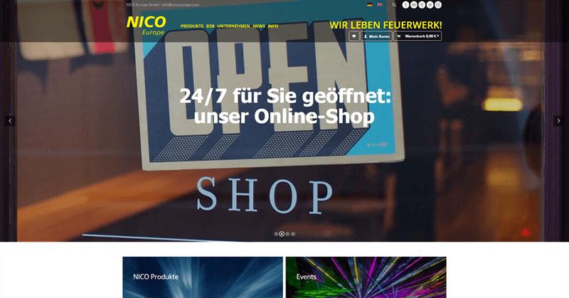 nico europe website ansicht shop banner